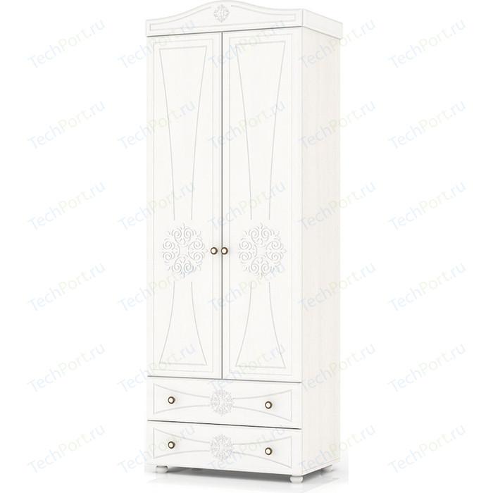 Шкаф платяной 2-х створчатый с двумя ящиками Мебельный двор Онега белая ШК-32 белый