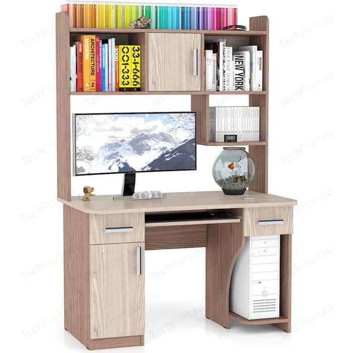 Стол компьютерный Мебельный двор С-МД-СК7 ясень шимо светлый/ясень шимо темный