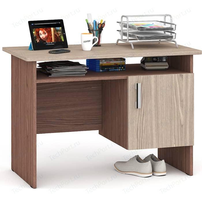 Стол письменный однотумбовый с дверью Мебельный двор С-МД-1-01 ясень шимо светлый/ясень шимо темный