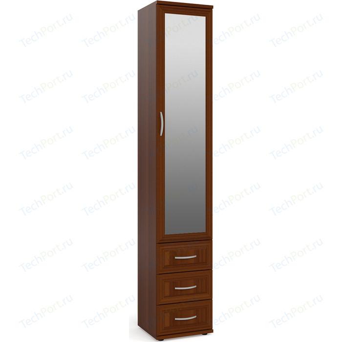 Шкаф-пенал для белья с 3-мя ящиками с зеркалом Мебельный двор ШК-6А-Зерк орех