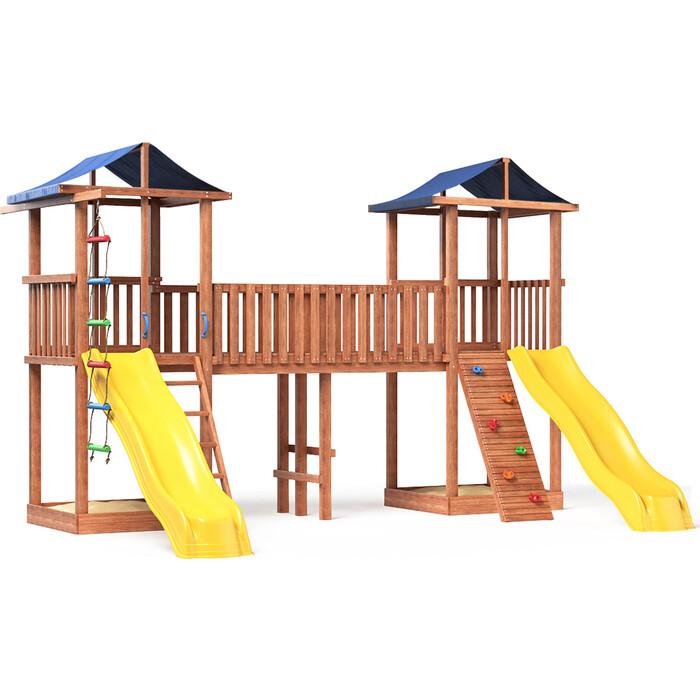 Детская площадка Красная звезда Можга Спортивный городок 6(Крыша Тент) с узким скалодромом СГ6-Р922-Тент