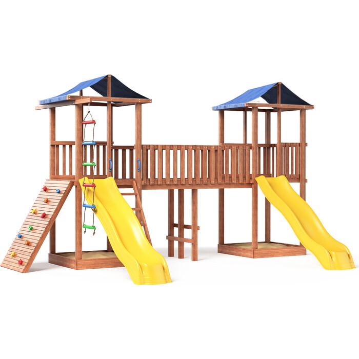 Детская площадка Красная звезда Можга Спортивный городок 6(Крыша Тент) с широким скалодромом СГ6-Р923-Тент