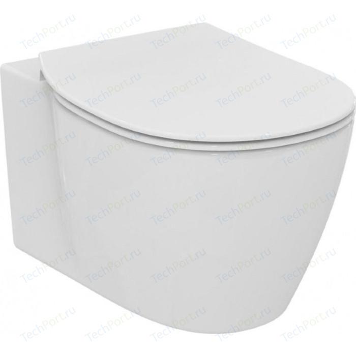 Унитаз подвесной Ideal Standard Connect Aquablade с тонким сиденьем микролифт (E047901, E772401) унитаз подвесной с сиденьем микролифт ideal standard tonic ii aquablade k316701