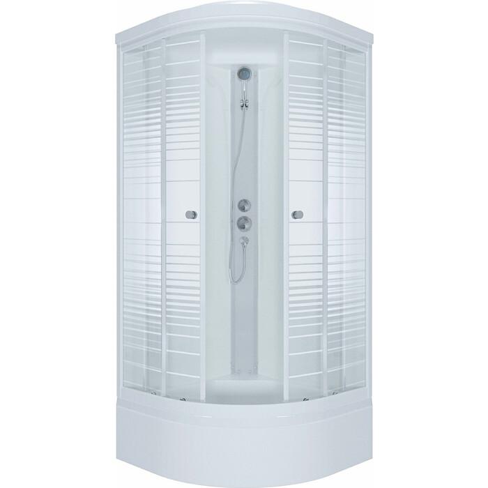 Душевая кабина Triton Стандарт В ДН4 90х90 задние стенки белые, стекла Аква полосы (Щ0000027249)