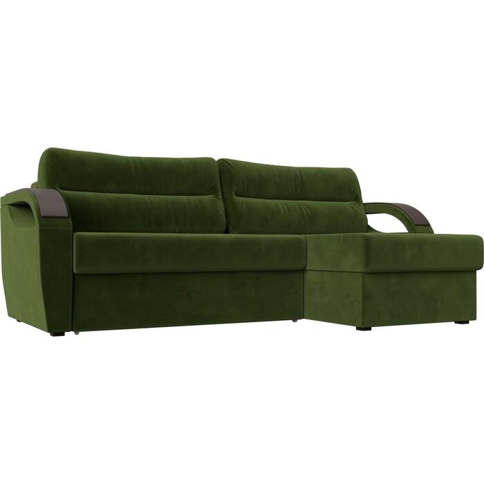 Угловой диван Лига Диванов Форсайт микровельвет зеленый правый угол угловой диван лига диванов канзас микровельвет зеленый правый угол