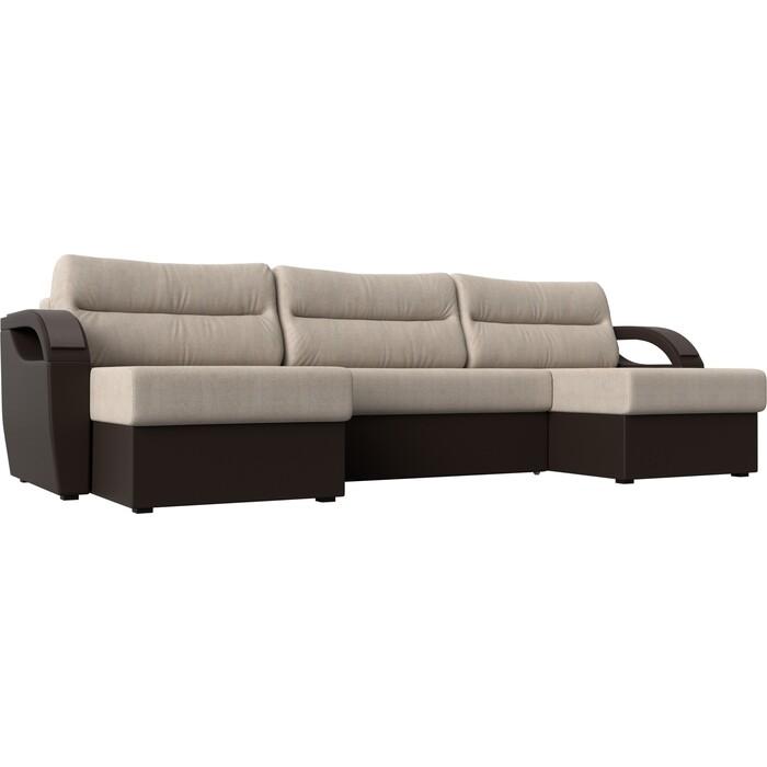 П-образный диван Лига Диванов Форсайт рогожка бежевый экокожа коричневый диван п образный лига диванов бостон велюр mr коричневый