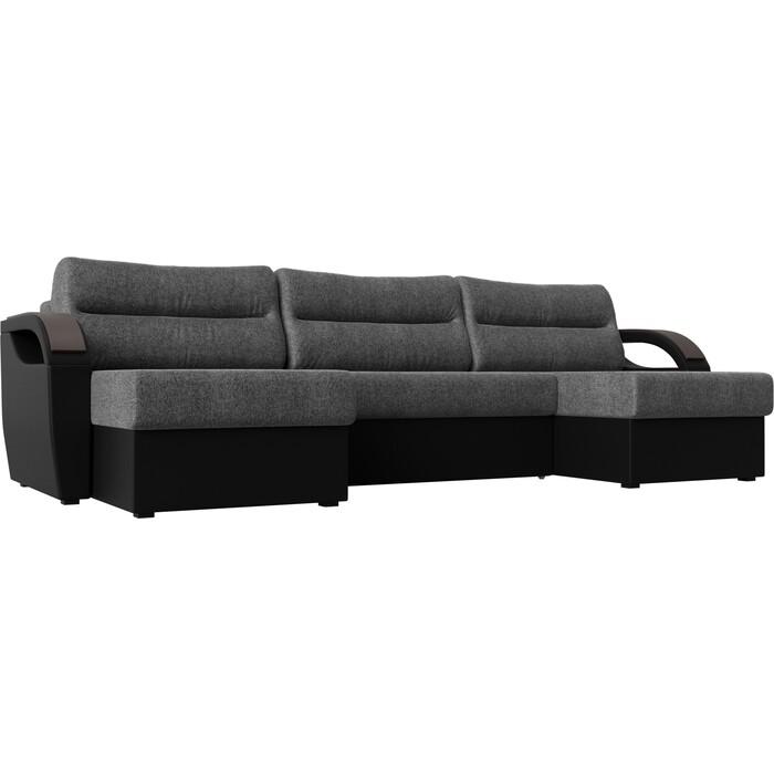 П-образный диван Лига Диванов Форсайт рогожка серый экокожа черный