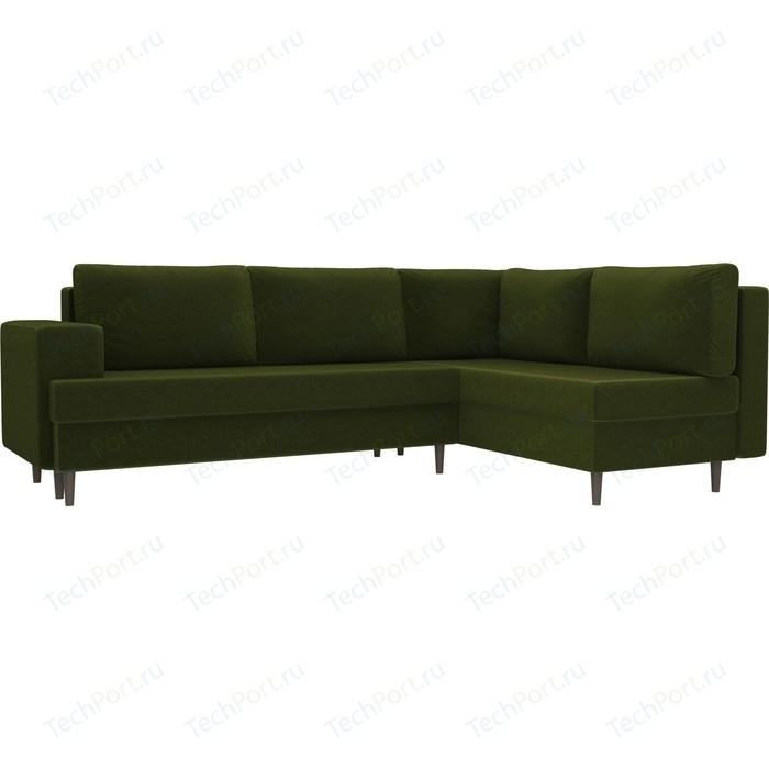 Угловой диван Лига Диванов Сильвана микровельвет зеленый правый угол угловой диван лига диванов канзас микровельвет зеленый правый угол