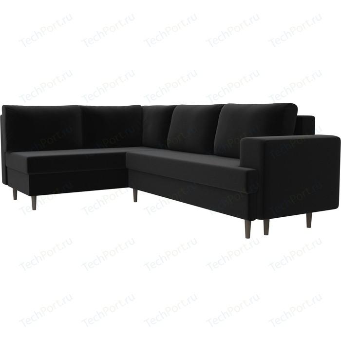 Фото - Угловой диван Лига Диванов Сильвана микровельвет черный левый угол угловой диван лига диванов канзас микровельвет черный левый угол