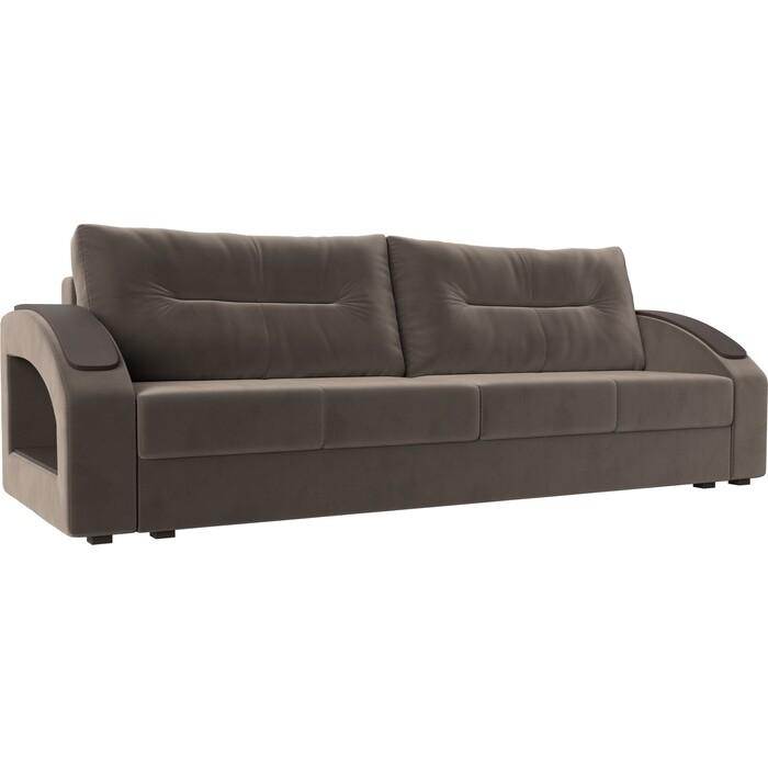 Прямой диван Лига Диванов Канзас велюр коричневый недорого