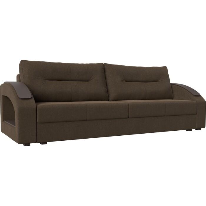 Прямой диван Лига Диванов Канзас рогожка коричневый недорого