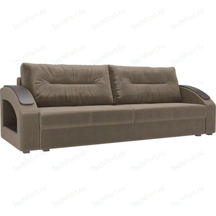 Прямой диван Лига Диванов Канзас флок коричневый недорого