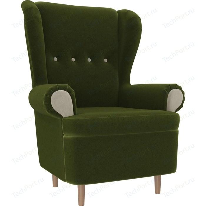 Кресло АртМебель Торин микровельвет зеленый подлокотники бежевые