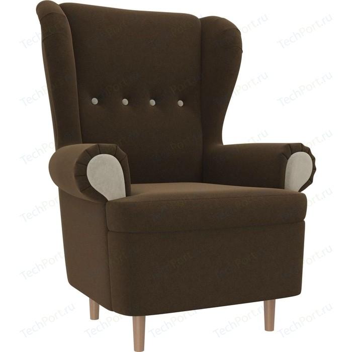 Кресло АртМебель Торин микровельвет коричневый подлкотники бежевые