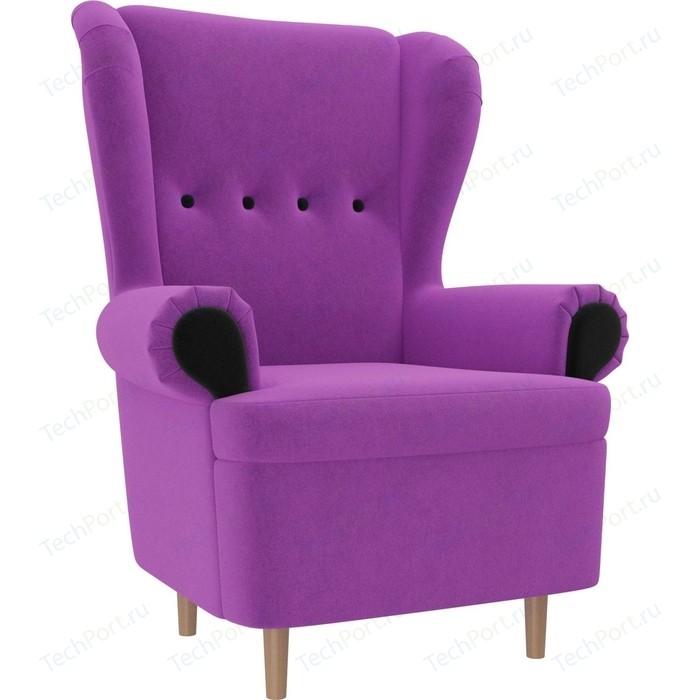 Кресло АртМебель Торин микровельвет фиолетовый подлокотники черные