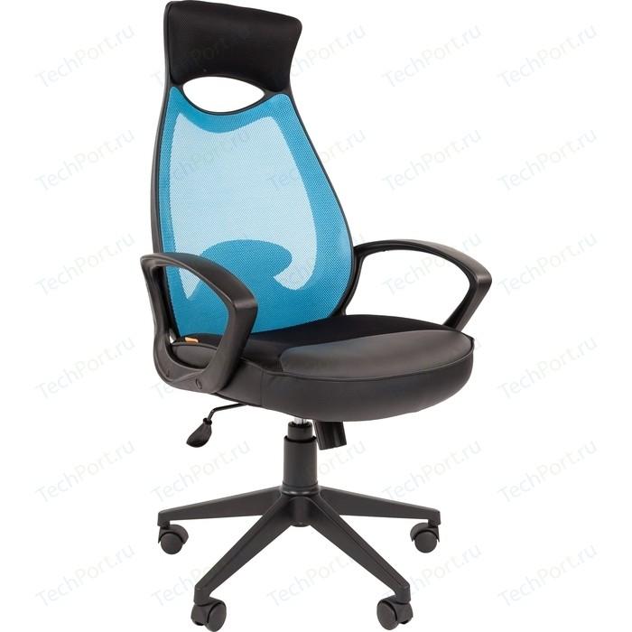 Офисноекресло Chairman 840 черный пластик TW-34 голубой