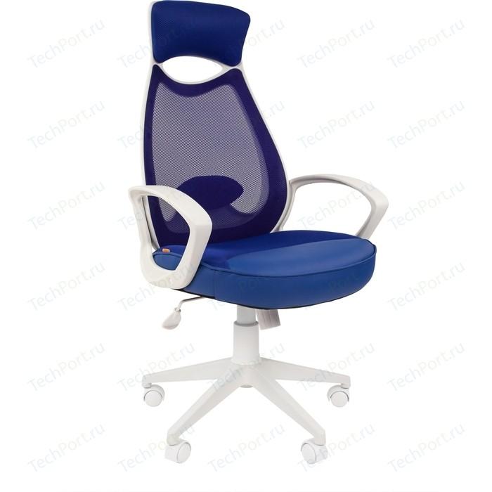 Офисноекресло Chairman 840 белый пластик TW10/TW-05 синий