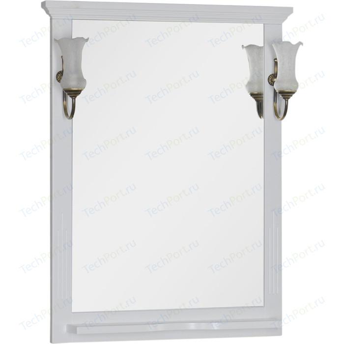 Зеркало с полкой Aquanet Лагуна 75 светильниками, белое (175306, 173024)