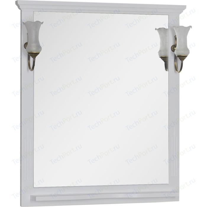 Зеркало с полкой Aquanet Лагуна 85 светильниками, белое (175305, 173024)