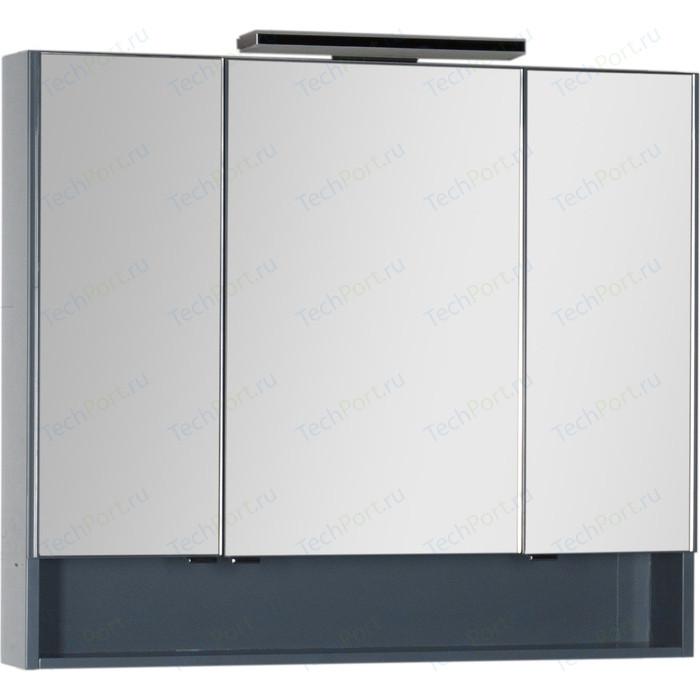 Зеркальный шкаф Aquanet Виго 100 с светильником, сине-серый (183359, 181660)