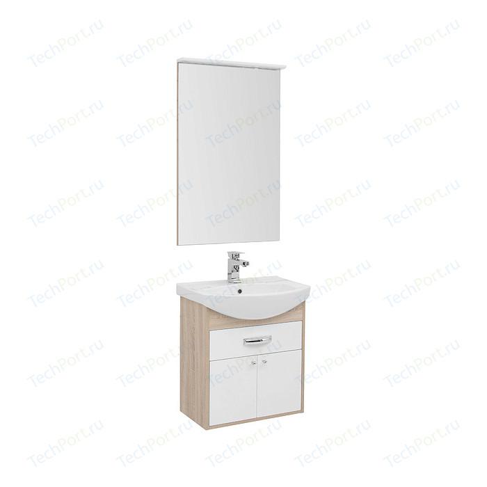 Мебель для ванной Aquanet Грейс 60 дуб сонома/белый 1 ящик, 2 дверцы