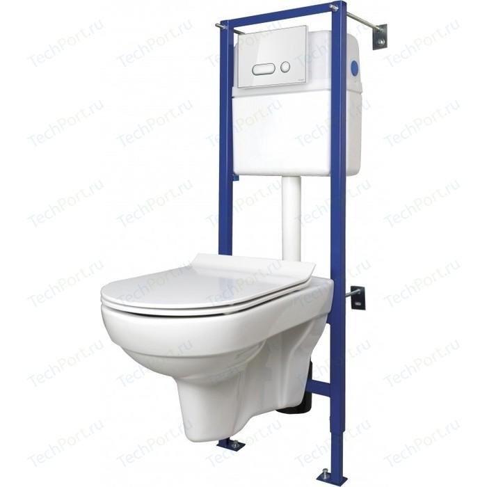 Комплект унитаза Cersanit City New Clean On Intera унитаз, инсталляция, сиденье микролифт, кнопка белая/стекло (SET-CITYC/LPRO/S-DL/In-Wg-w)