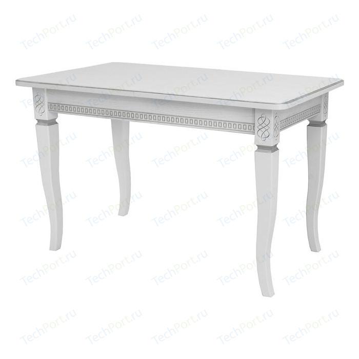 Стол раздвижной Leset Дакота 1Р белый 9003 с серебряной патиной