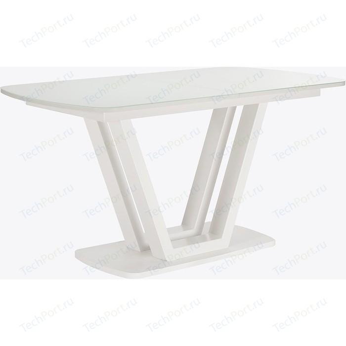 Картинка для Стол раздвижной Leset Каби металл белый/стекло белое