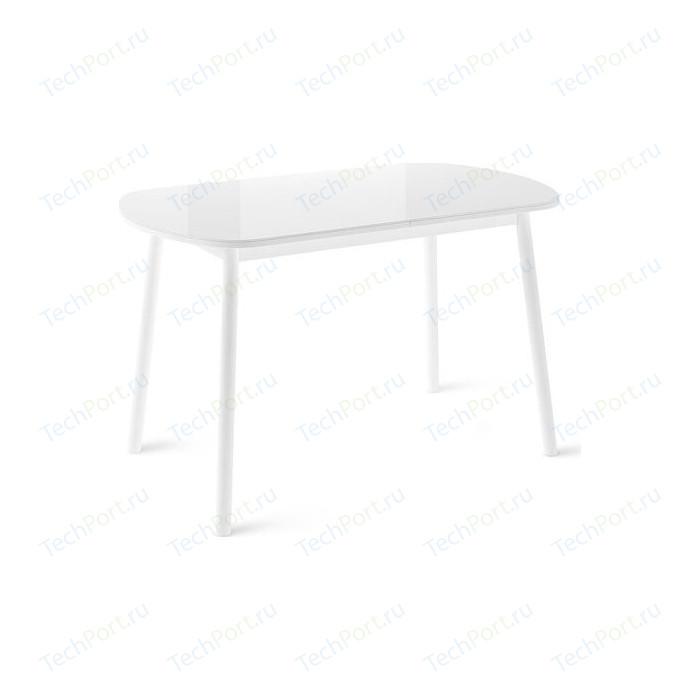 Стол раздвижной Leset Мидел металл белый/стекло белое