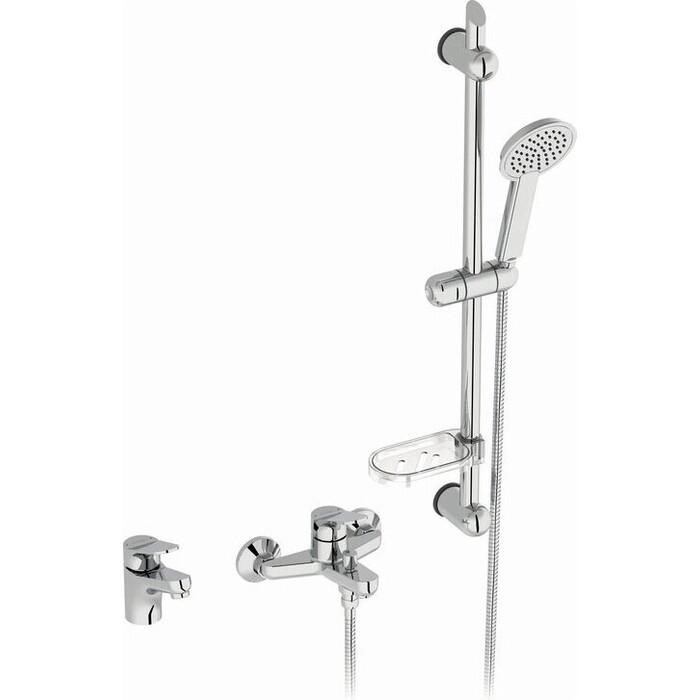 Комплект смесителей Jacob Delafon Brive 3 in 1 для раковины и ванны, с душевым гарнитуром (E78121-CP)