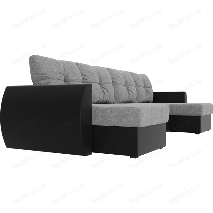 Фото - Диван АртМебель Сатурн рогожка серый экокожа черный П-образный диван артмебель валенсия рогожка серый п образный