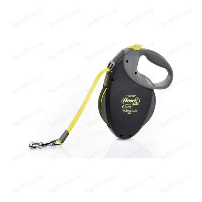 Рулетка Flexi Giant Professional L Neon лента 10м черная для собак до 50кг
