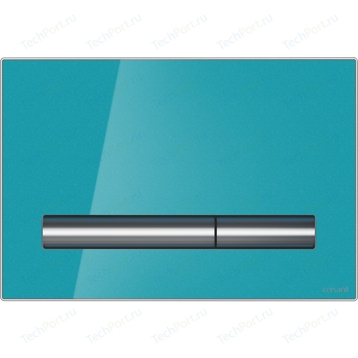 Кнопка смыва Cersanit Pilot стекло\пластик, лазурный (P-BU-PIL/Azg/Gl)
