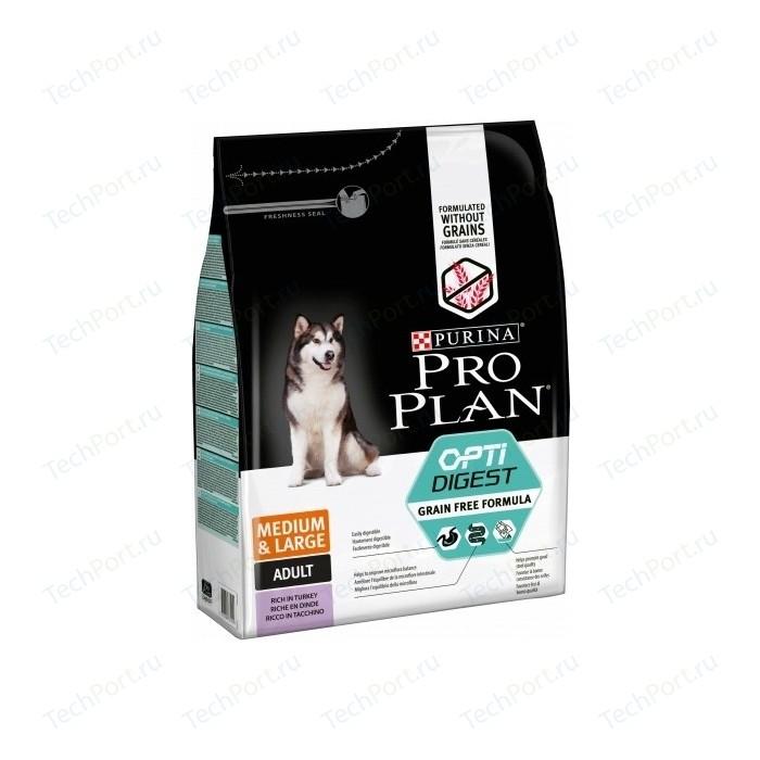 Сухой корм PRO PLAN OPTIDIGEST Grain Free Medium &Large беззерновой с индейкой для собак средних и крупных пород чувствительным пищеварением 2,5кг