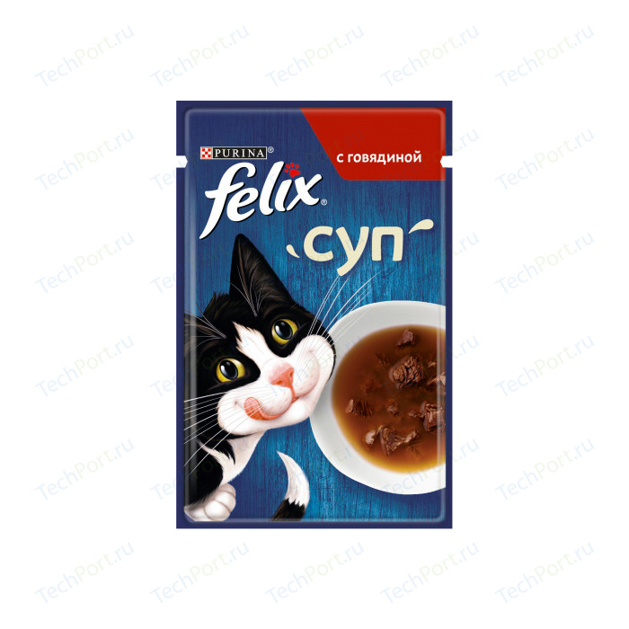 Паучи Felix Суп с говядиной для кошек 48г (12378667)