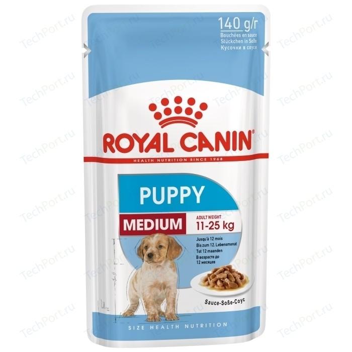 Пауч Royal Canin Medium Puppy Sause-Sobe кусочки в соусе собе для щенков средних пород c 2 до 10мес 140г