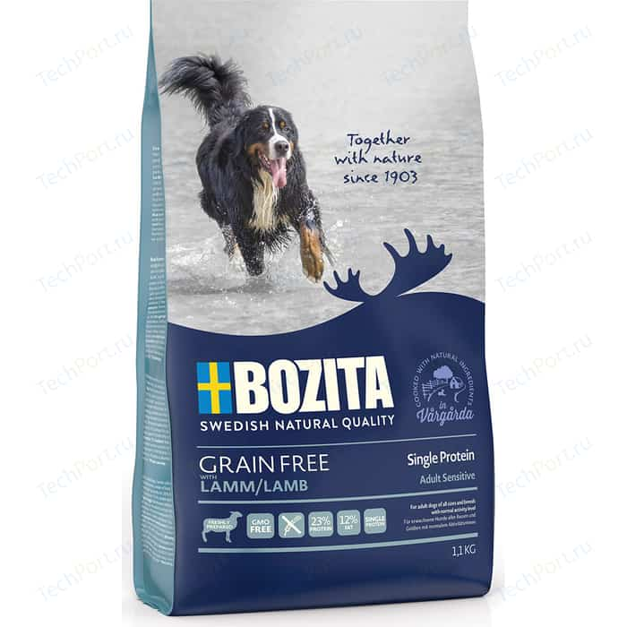 Сухой корм BOZITA Grain Free Adult Sensitive Single Protein with Lamb 23/12 беззерновой с ягненком для взрослых собак 1,1кг (40612)