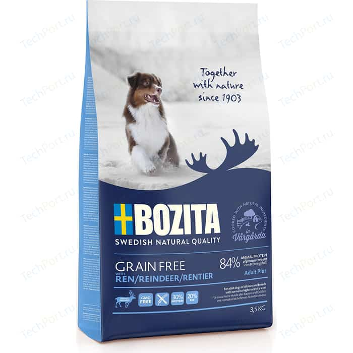 Сухой корм BOZITA Grain Free Adult Plus with Reindeer 30/20 беззерновой с мясом оленя для взрослых собак 3,5кг (40723)