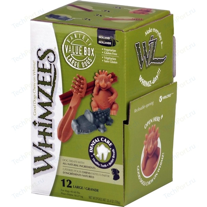 Лакомство Whimzees Variety Box L МИКС (палочки/ щетки/ крокодильчики/ ежики) для собак 12шт в коробке (WHZ573)