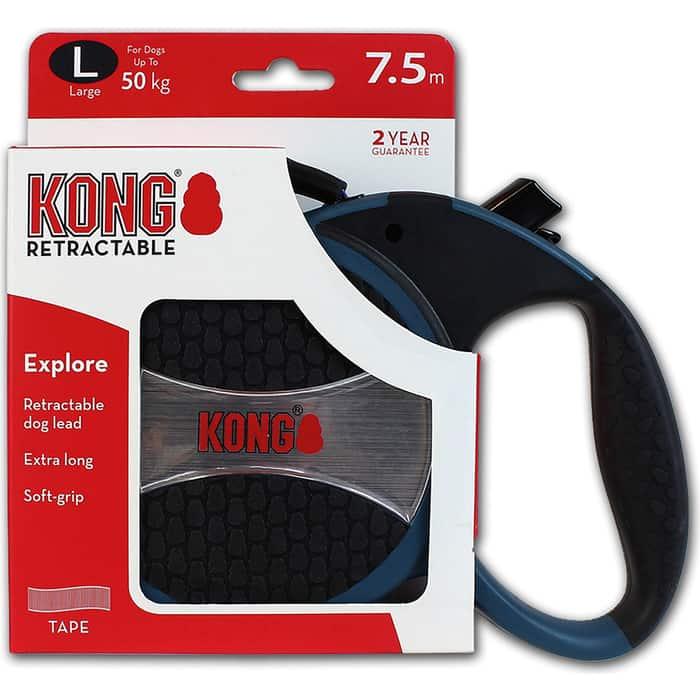 Рулетка KONG Explore L лента 7,5м синяя для собак до 50кг