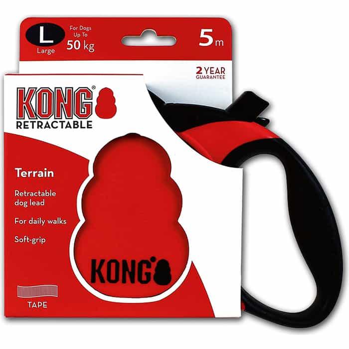 Рулетка KONG Terrain L лента 5м красная для собак до 50кг
