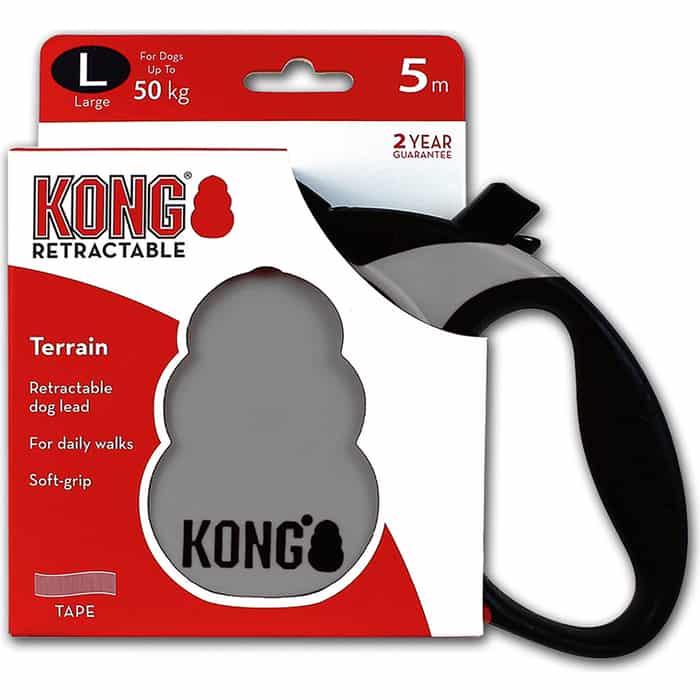 Рулетка KONG Terrain L лента 5м серая для собак до 50кг