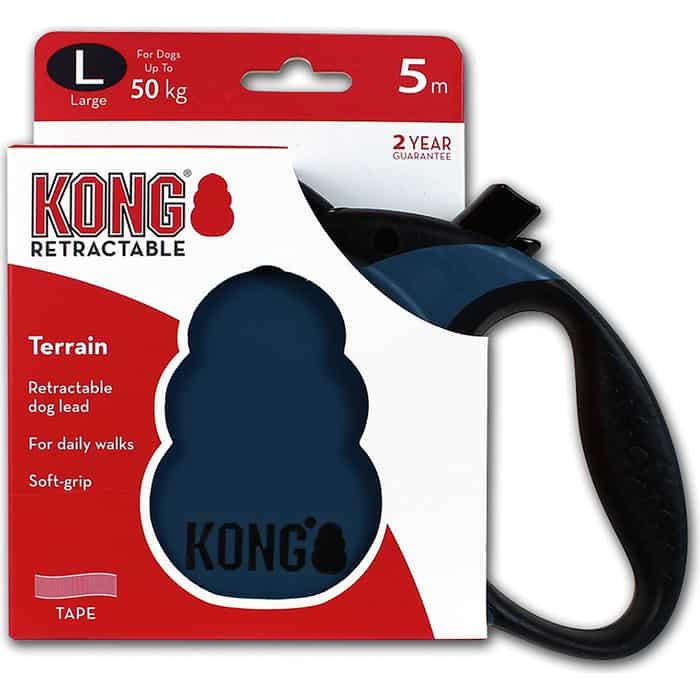 Рулетка KONG Terrain L лента 5м синяя для собак до 50кг