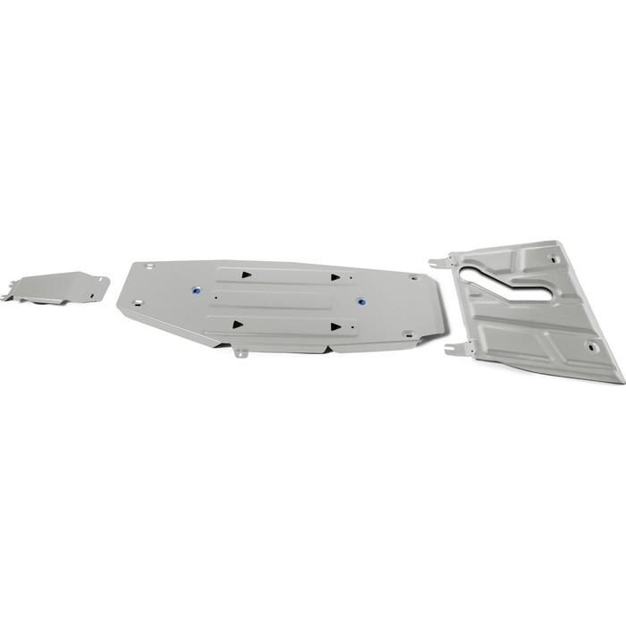 Защита картера, КПП, топливного бака и редуктора Rival для Toyota Rav4 IV АКПП (2013-2015 / 2015-2018), с вырезом под глушитель, алюминий 4 мм, K333.9506.1