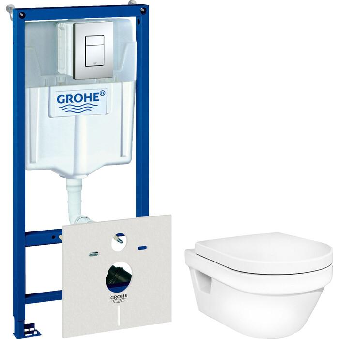 Комплект унитаза Gustavsberg Hygienic Flush с инсталляцией Grohe, кнопкой, сиденьем микролифт (5G84HR01, 38775001)