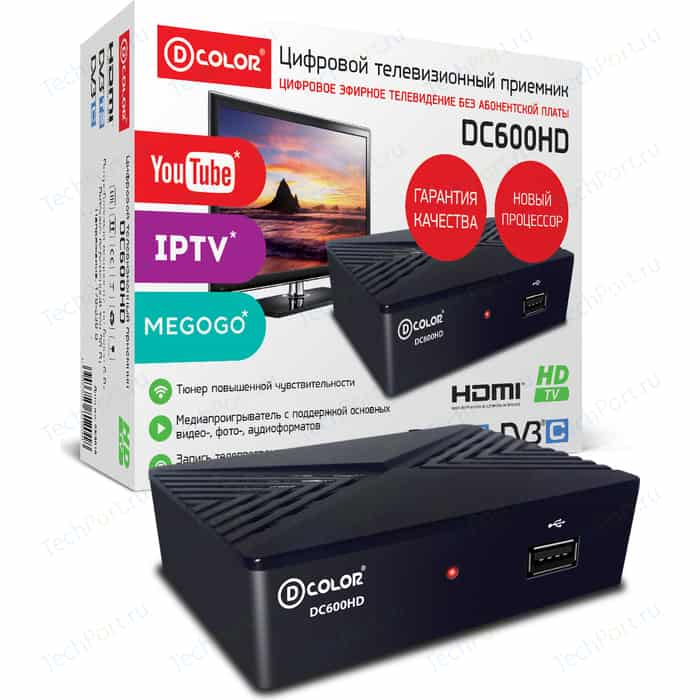 Тюнер DVB-T2 D-Color DC600HD