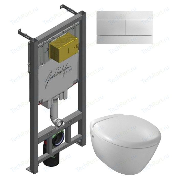Комплект унитаза Jacob Delafon Presquile с инсталляцией, кнопкой, сиденьем микролифт (E4440-00, E29025-NF, E4316-CP)