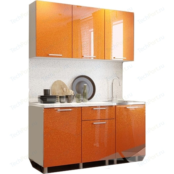 Кухня БТС Оранж блестки 1,5 м