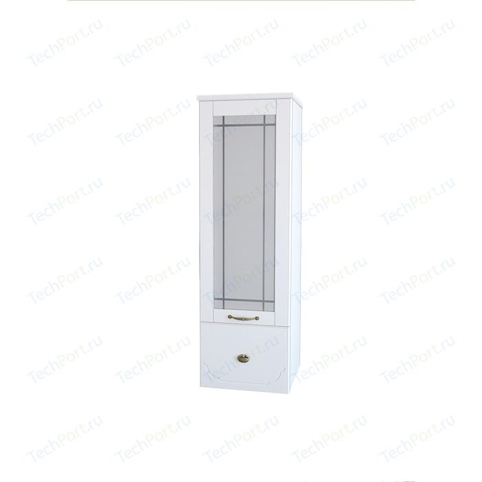 Полупенал Dreja Antia 30 1 дверка со стеклом, ящик, белый, правый (99.0432)