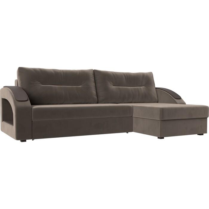 Угловой диван Лига Диванов Канзас велюр коричневый правый угол